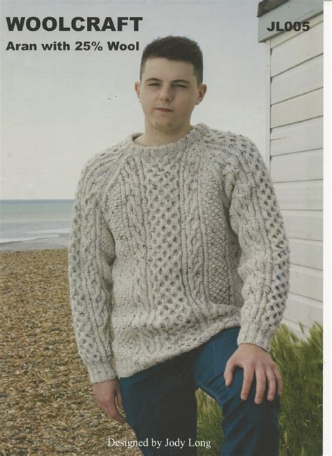 free knitting patterns for mens aran sweaters woolcraft mens sweater aran knitting pattern jl005
