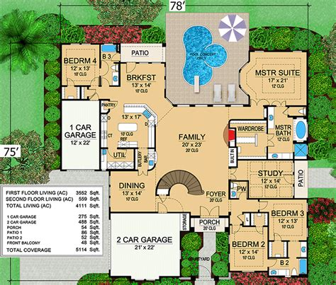 1 Bedroom House Floor Plans mini mansion 36105tx architectural designs house plans