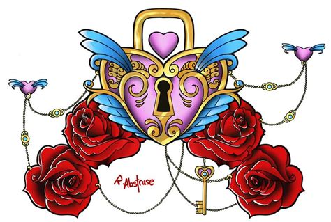 heart with roses tattoo designs clipart best