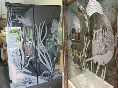 etched glass shower doors etched glass shower doors