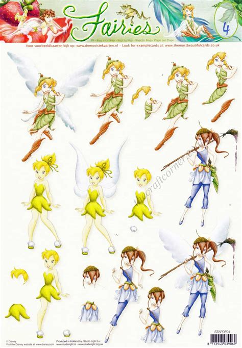 disney decoupage disney tinkerbell fairies 4 3d decoupage sheet