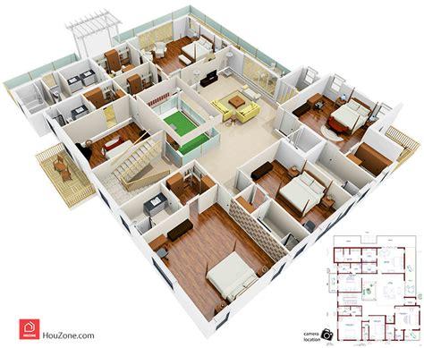 3d plan 3d floor plan of a duplex house houzone