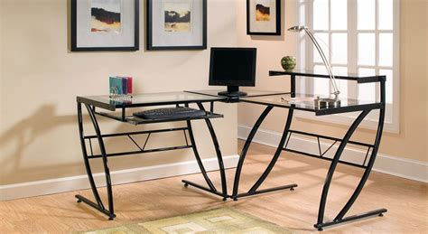 z line glass computer desk z line belaire glass l shaped computer desk review