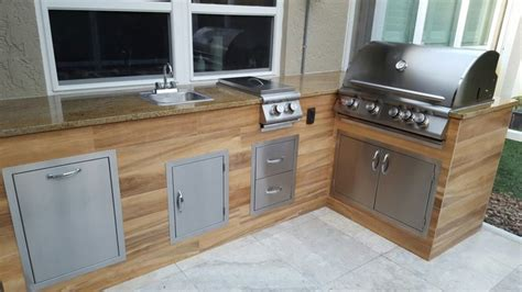 modern patio tiles wood look tile outdoor bbq kitchen modern patio