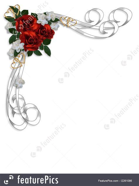 wedding invitation red roses border illustration