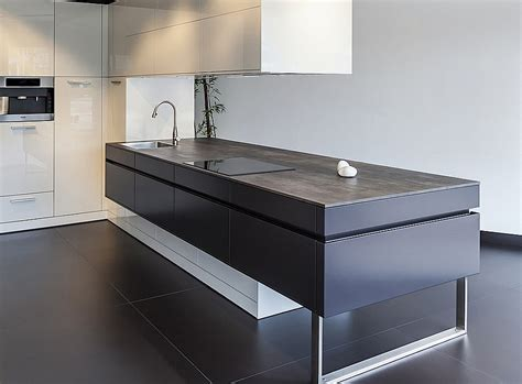 Country Style Kitchen Island ceramic worktops neolith iron grey kitchenfindr