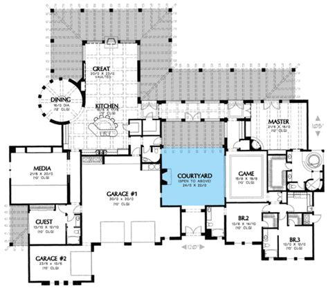 floor plans with courtyard plan w16314md unique courtyard home plan e architectural design