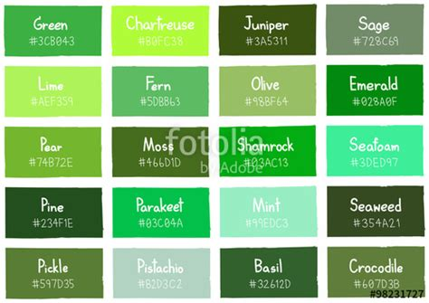 list of green colors quot green tone color shade background with code and name