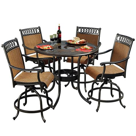 5 patio dining set shop sunjoy 5 aluminum patio dining set at lowes