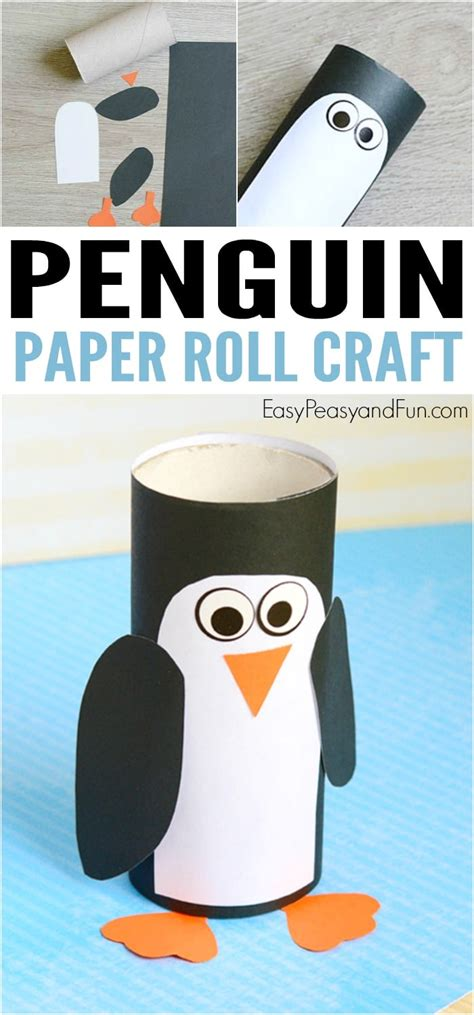 penguin toilet paper roll craft paper roll penguin craft winter crafts for easy
