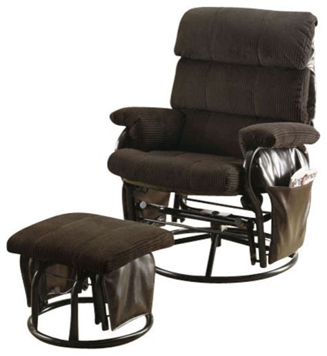swivel rockers with ottomans recliner swivel rocker chocolate corduroy with ottoman