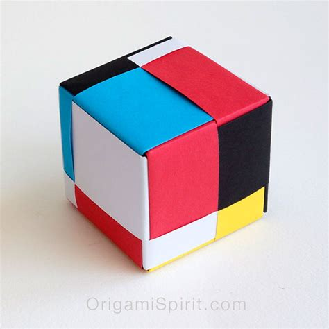paper cubes origami free coloring pages modular origami cube mondrian