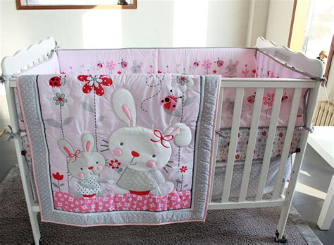 how to make baby bedding sets pink rabbit flowers 4pc baby crib bedding set