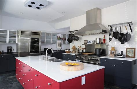Kitchen Trolley Island red black and white interiors living rooms kitchens