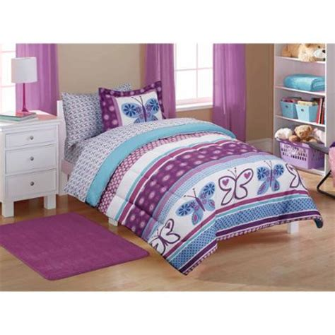 butterfly bed sets mainstays purple butterfly coordinated bed in a bag