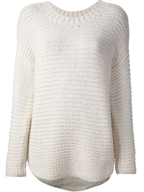 white knit sweater paul joe rinaldi chunky knit sweater in white lyst