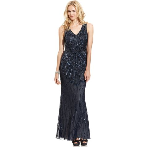 js collections beaded gown js collections sleeveless beaded sequined gown in blue lyst