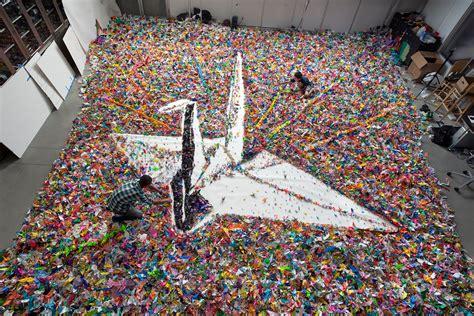 japanese origami crane vik muniz and tim timmerman s