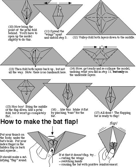easy bat origami tom hull s flapping bat origami bats