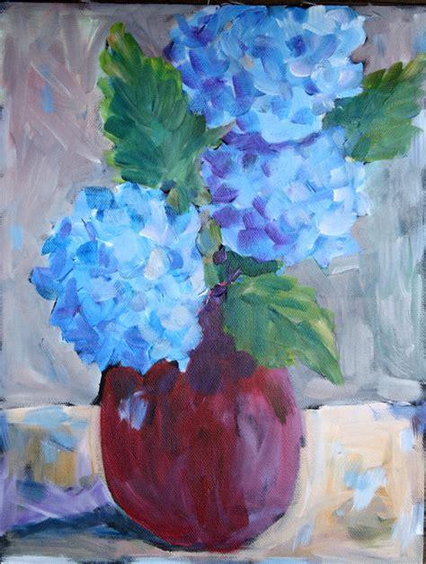 acrylic painting hydrangeas hydrangea painting acrylic still flower painting