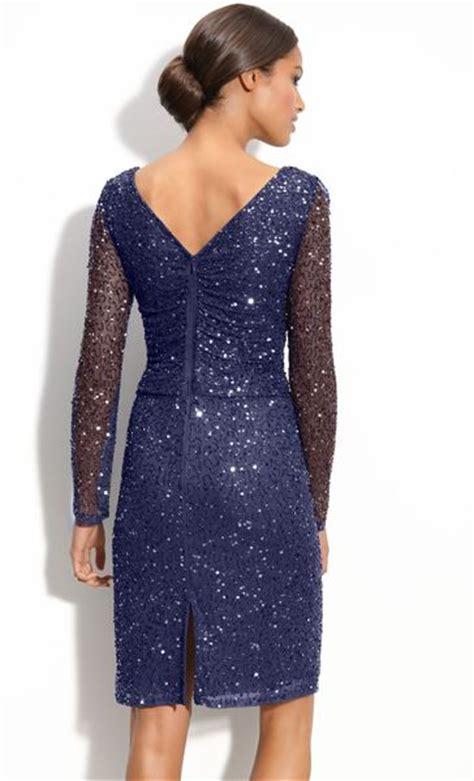 patra beaded dress patra beaded mesh sheath dress in blue navy lyst