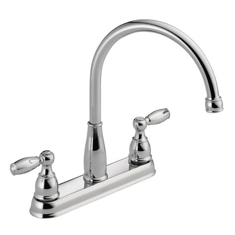 chrome kitchen faucet delta foundations 2 handle standard kitchen faucet in chrome 21987lf the home depot