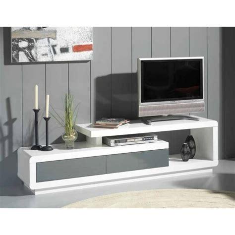 meubles tv meubles et rangements meuble tv seville blanc 2 tiroirs gris anthracite inside75