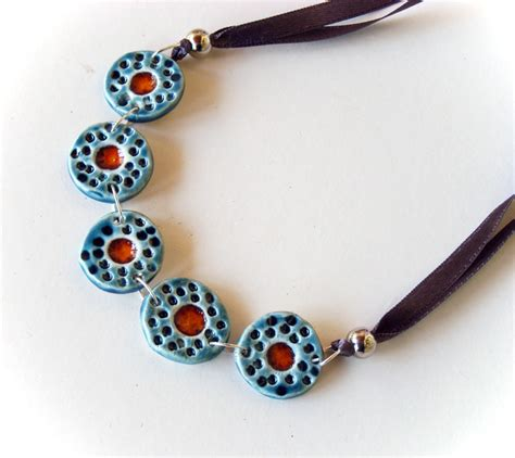 ceramic jewelry statement necklace in shades of blue and ceramic