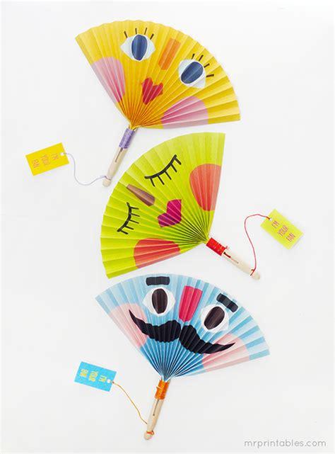 paper fan craft summer paper fans mr printables