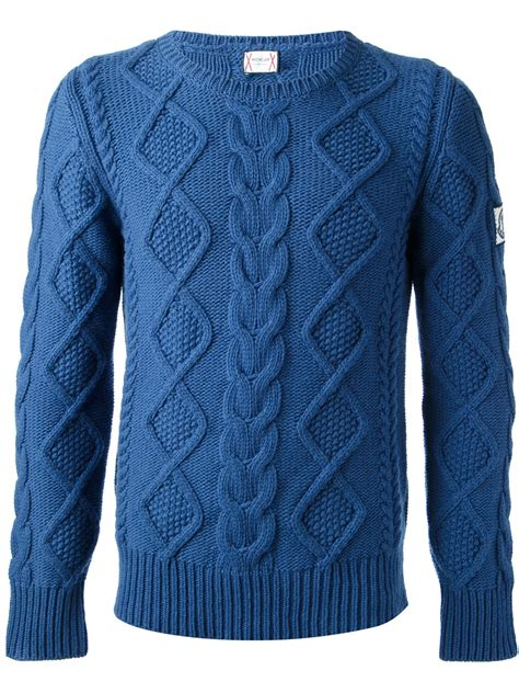 blue knit sweater moncler gamme bleu cable knit sweater in blue for lyst