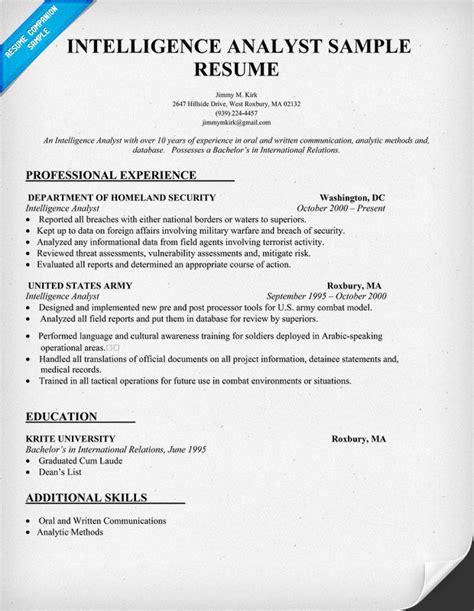 intelligence analyst resume resume template 2017