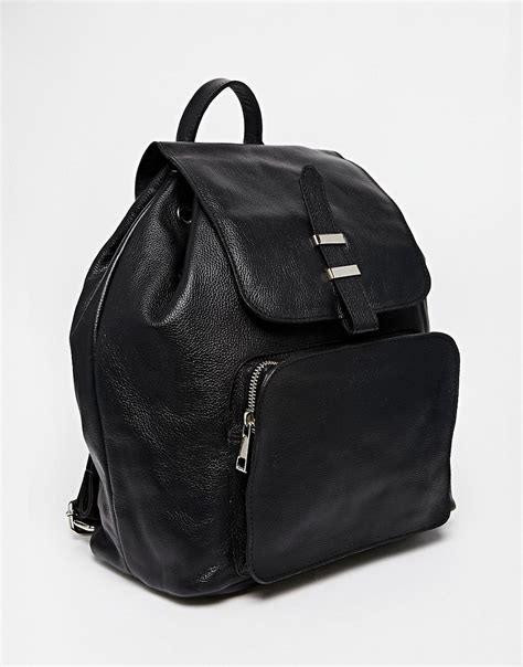 leather with zips asos asos leather backpack with front zip pocket at asos