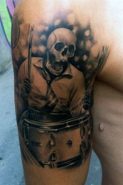 70 drum tattoos for men musical instrument design ideas