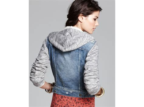 free knit hooded denim jacket free denim and knit hooded jacket in blue lyst