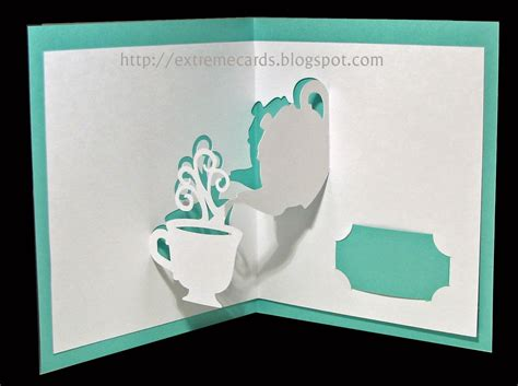 pop up card for cards and papercrafting teapot and cup pop up card