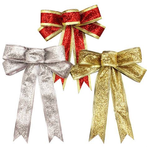 bow tree decoration 15cm silver gold sparkling glitter bow