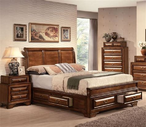king bedroom furniture set acme furniture konance brown cherry sleigh 5