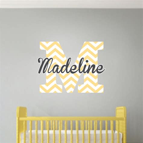 nursery wall name decals monogram wall decal initial stickers nursery and