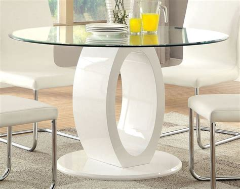 lodia i white glass top pedestal dining room set