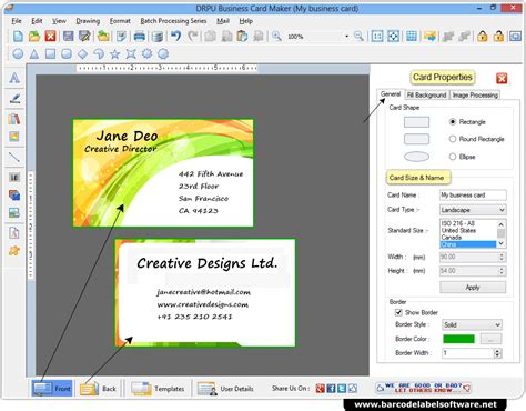 visiting card software business card maker software designs business cards in