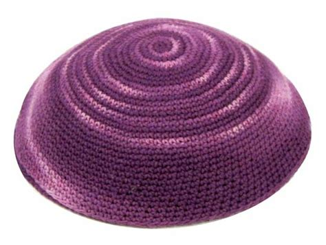 knit kippot pink and purple knit yarmulke for religious use
