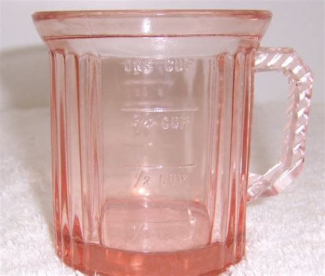 pink glass pink depression glass measuring cup