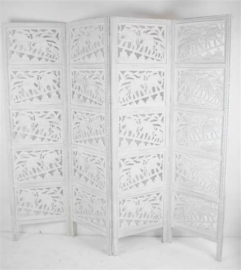 white room dividers carved indian elephant room divider screen white