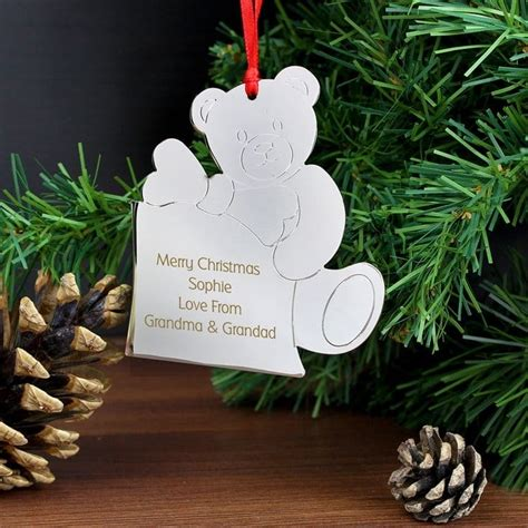 personalised decorations personalised teddy tree decoration find me a gift