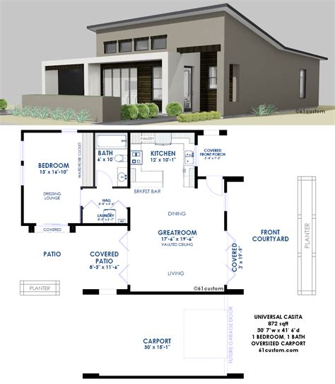 hous plans contemporary casita plan small modern house plan