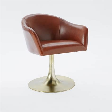 swivel c chair bond leather swivel office chair west elm