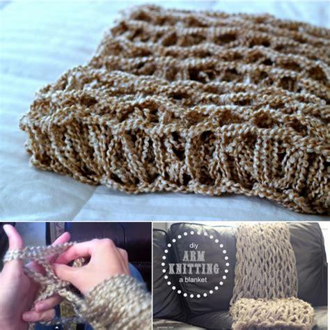 diy arm knitting fancy 45 minutes diy arm knitted blanket
