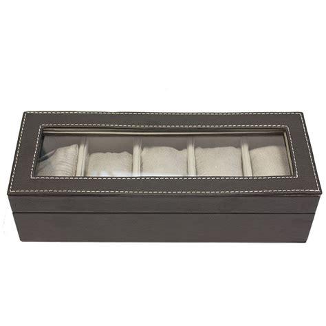 coffret boite de rangement simili cuir pour 5 montres
