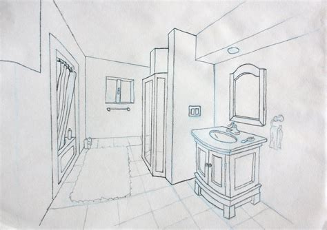 bathroom drawing bathroom perspective by andrewosis on deviantart