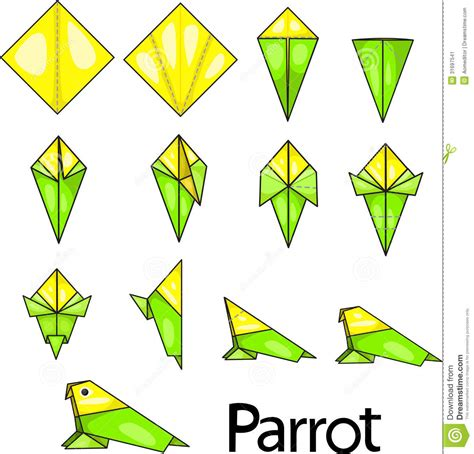 origami macaw parrot step by step origami parrot stock vector image of illustration